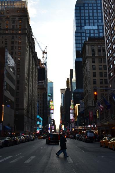 Pedestrian silhouettes.