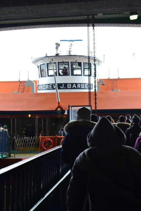 Passengers boarding the Staten Island Ferry.