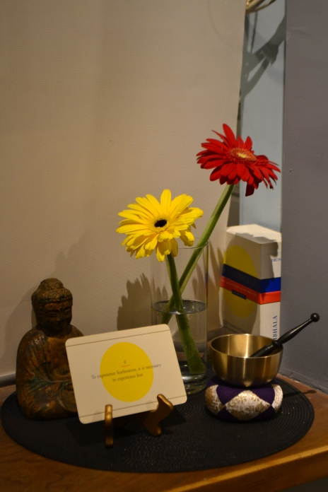 Mini shrine in the foyer of the New York City Shambhala Meditation Center.