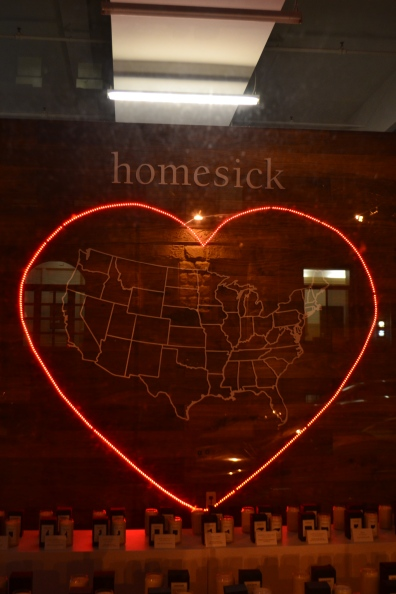 This was a cute idea: this store sells customized candles, one for each state, so that New York transplants can pay homage to their places of origin.